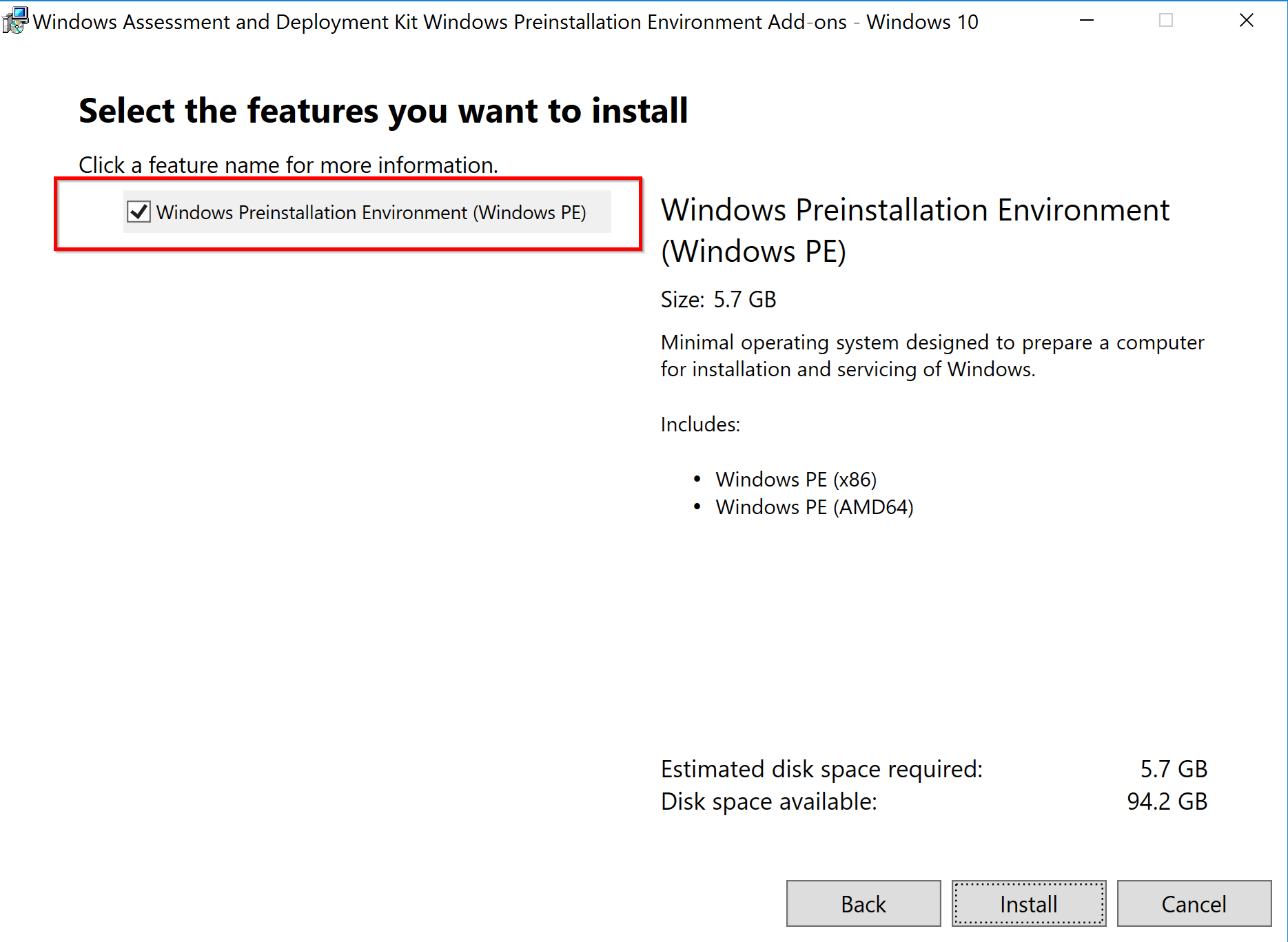 Installation of ADK for Windows 10 (version 1809)